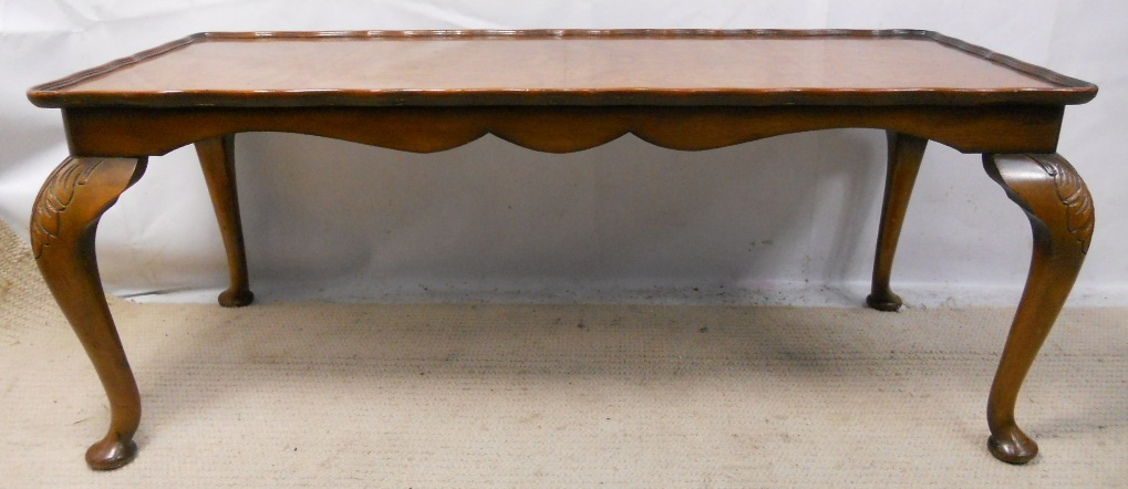 Walnut Long Coffee Table In Antique Queen Anne Style Sold